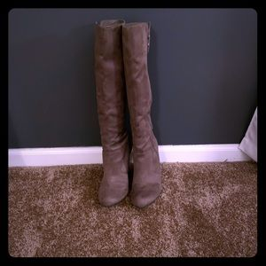 Taupe suede wedge boots